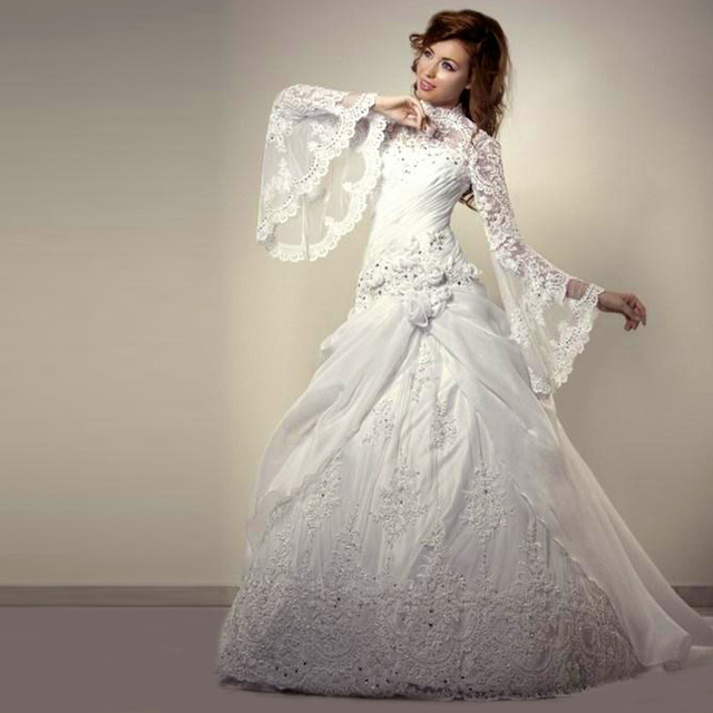 ad4eabd6698 vestido de noiva Muslim Wedding Dresses Lace Long Sleeve Modest Arabic  Style Bride Dress Wedding Gown Robe de Mariage