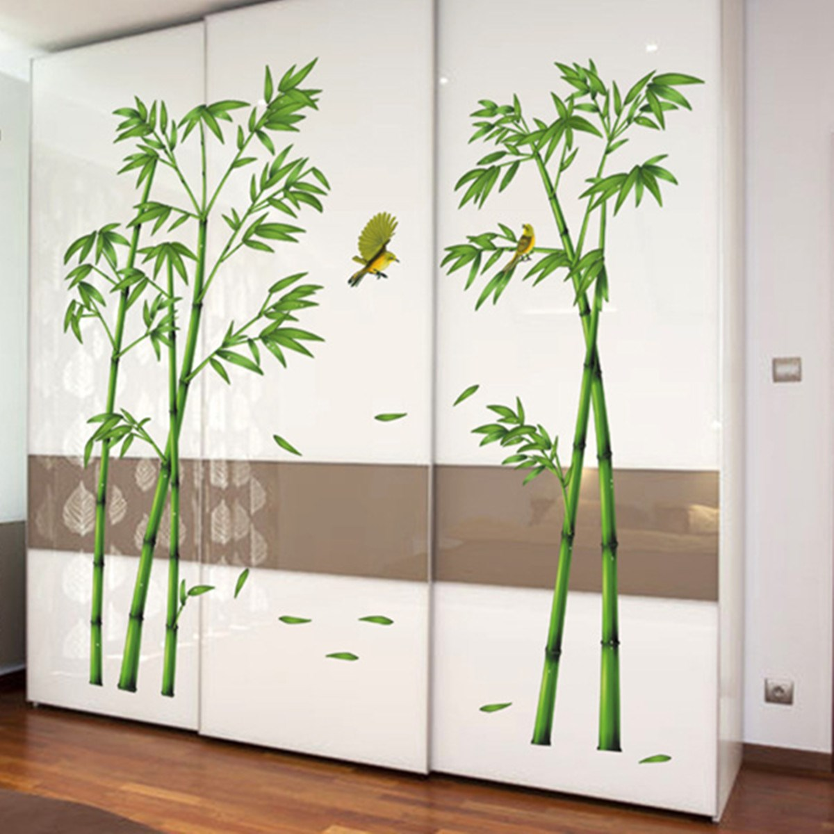 2Pcs 3D Wall stickers Large Size Bamboo Birds Tree DIY Vinyl Removable  Decals Home Living Room