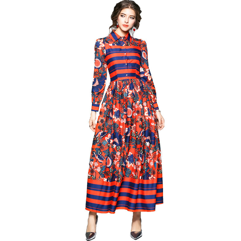 Ethnic Style Striped Flower Print Floral Maxi Dress 2019 Spring Women Long Sleeve Turn Down Collar Gown Evening Party Long Dress