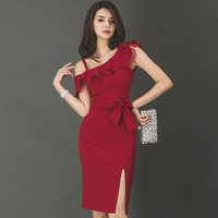 Summer Bowknot Ruffles One Shoulder Sleeveless Sexy Bodycon Vestidos Red Midi Pencil Party Dress