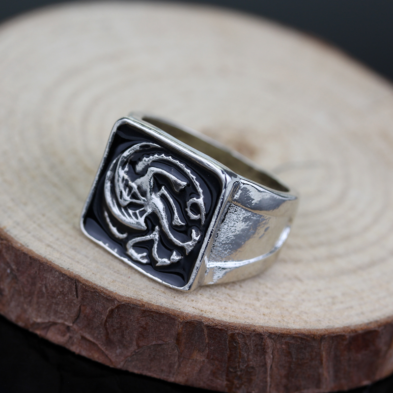 Game of Thrones ice wolf House Stark of Winterfell Men ring Black Enamel Men rings Jewelry Top Quality Size 7-12 Freeshipping