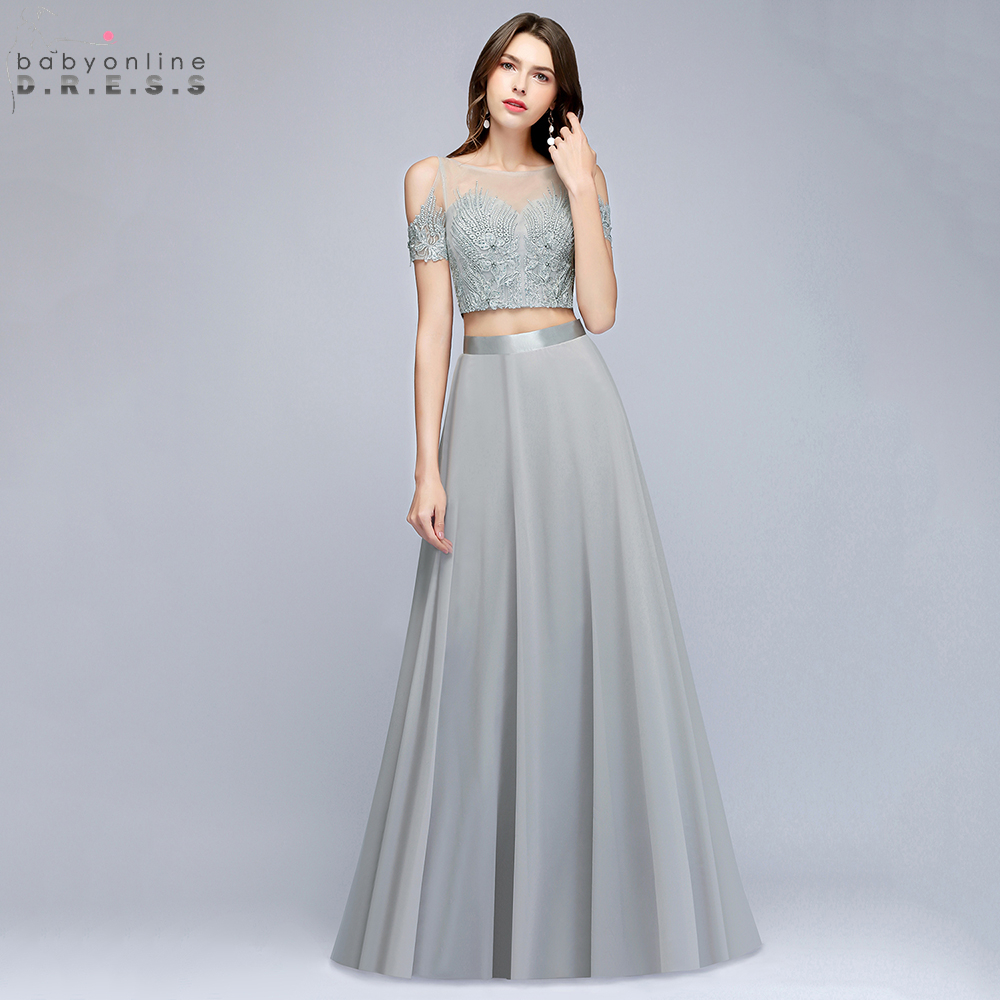 Babyonline Silver Two Pieces Short Sleeves Formal   Evening     Dresses   2019 Lace Embroidery Crystal Party   Dresses   vestido de festa