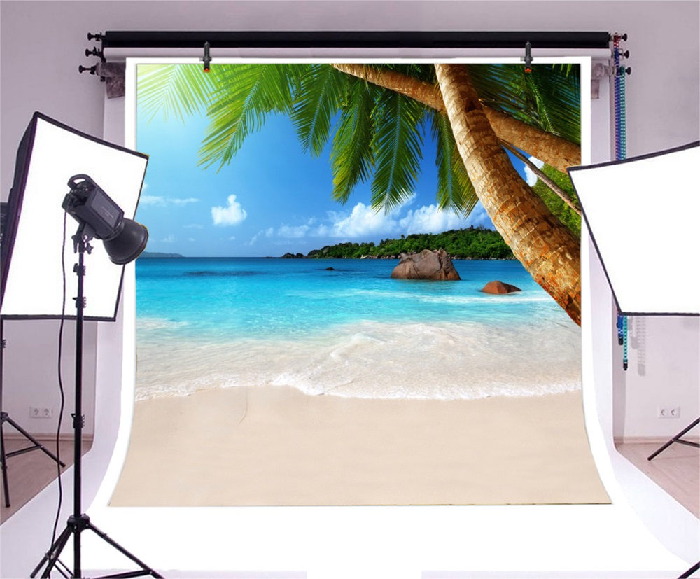 Laeacco Tropical Palm Tree Island Sea Scenic Photographic Backgrounds Customized Photography Backdrops For Photo Studio