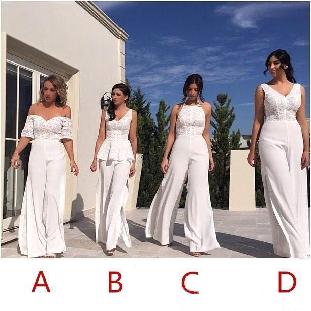 V Neck Lace JumpSuit Long   Bridesmaid     Dresses   2019 Off The Shoulder Split Floor Length Long Maid of honor Wedding Guest Evenin
