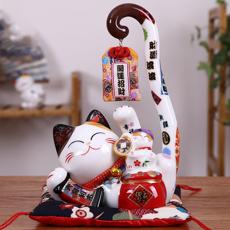 Creative Long Tail Cat Ceramic Lucky Cat Piggy Bank Opening Gift Table Decoration Home Living Room Accessories Gift R1900