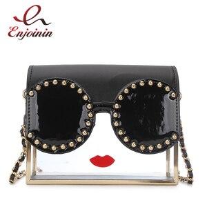 Image 1 - Fashion Transparency Acrylic Box Shape Red Lips Rivet Design Metal Crossbody Messenger Bag Women Handbags Chain Purse Flap Bolsa