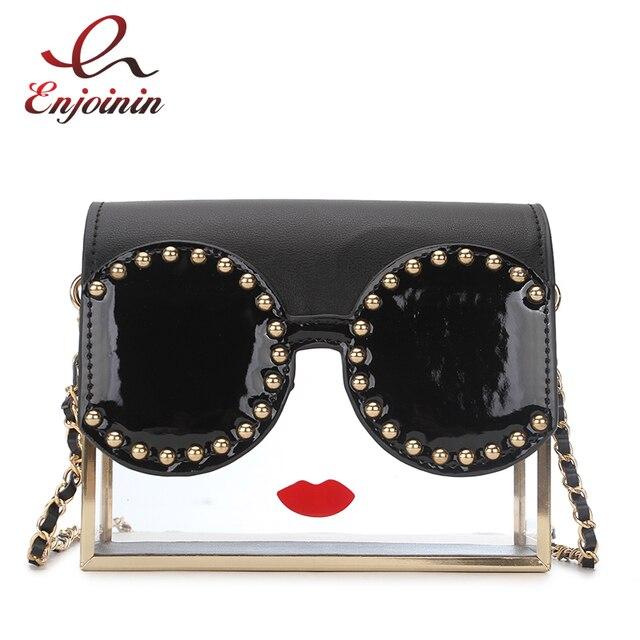 Fashion Transparency Acrylic Box Shape Red Lips Rivet Design Metal Crossbody Messenger Bag Women Handbags Chain Purse Flap Bolsa