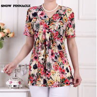 SNOW PINNACLE Women Summer Chiffon Blouse Shirt Casual 2017 Printed Batwing Sleeve Loose Tops Clothes For