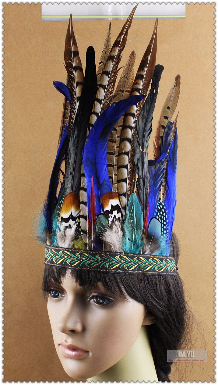 Hair Band Indian Peacock Feather Headdress Hair Headpieces Headband for Adults Halloween Carnival Party Fashion Accessories