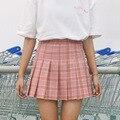 Bodycon rosa azul marrón estudiante de muy buen gusto linda mini skirt sweet school girl costura falda a cuadros plisada cintura alta faldas de las mujeres