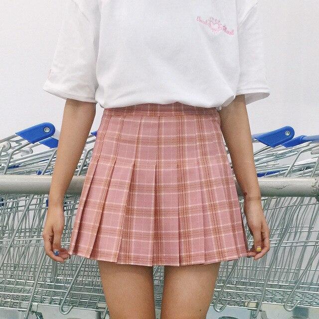 6b7764078ce7 Moulante Rose Bleu Marron Mignon Preppy Étudiant Mini Jupe Douce Couture  Plissée Jupe À Carreaux Écolière