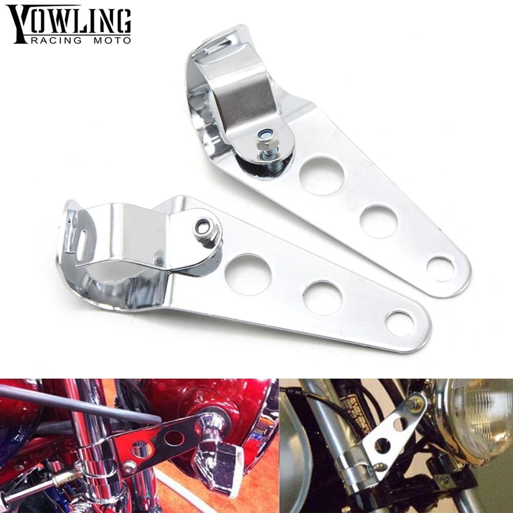 YOWLING Universal 35-45mm Motorcycle Headlight Mount Bracket Steel Motorbike Fork Ears For Bobber Cafe Racer Black/Silver