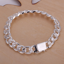 most hotest sale 10MM square buckle sideways lines hand, mens jewelry silver bracelet, popular bracelets LKNSPCH032