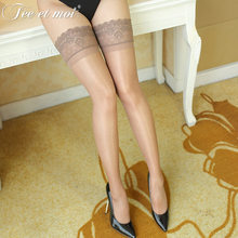 c49c5db251e Thigh High Sexy Stockings Lace Top Long Silicone Stay Up Solid Transparent  Nylon Stockings For Women Medias Over The Knee Socks