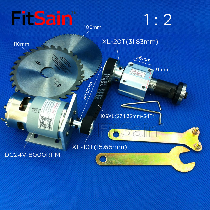 FitSain-DC24V 8000RPM Mini table saw for 4 blade hole 16mm/20mm XL 10 20 teeth spindle aluminum alloy Pulley 1 : 2