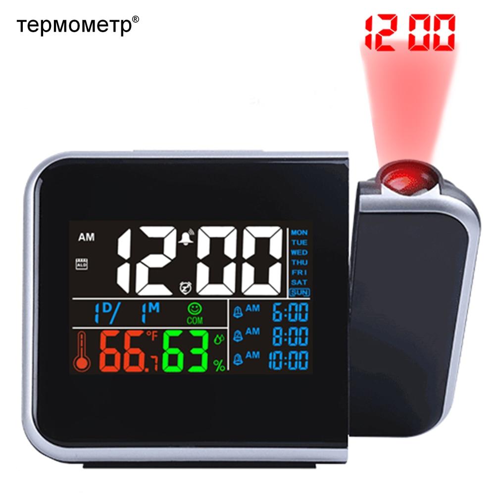 Idéia do presente Colorido LED Digital Projection Alarm Temperatura Relógio Termômetro Umidade Higrômetro Tempo Mesa Calendário Projetor
