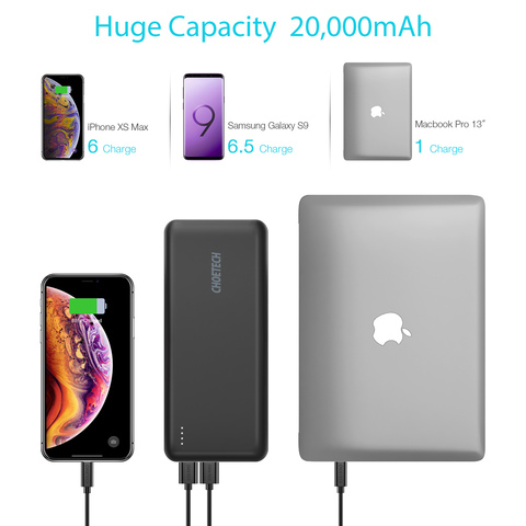 CHOETECH Power Bank For Xiaomi Dual USB PD 45W Type-C 20000mAh Quick Charge Portable Charger Powerbank For xiaomi mobile phones Karachi