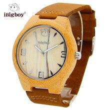 Partido de la Correa de Cuero Relojes de Los Hombres De Madera de bambú De Madera Marca de Relojes Hombres Movimiento de Cuarzo Retro Casual Reloj de pulsera de Regalo Para El Padre