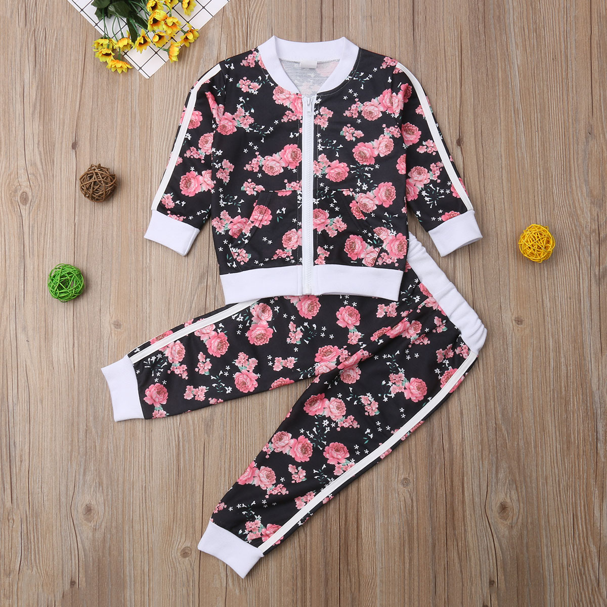 Kids Little Girls Floral Clothes Sets Toddler Baby Girl Infant Flower Clothing O Neck Zipper Top Pants Outfits Tracksuit 2019 in Clothing Sets from Mother Kids