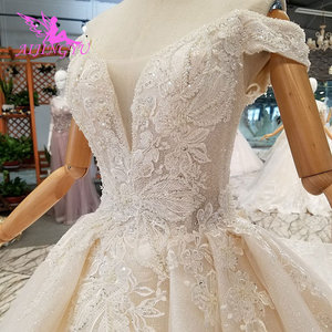 Image 2 - AIJINGYU Wedding Dress Train Turkey Sparkly Sequins Grey Womens Luxury Ball 3Xl Gown Prices Lace Bridal Gowns