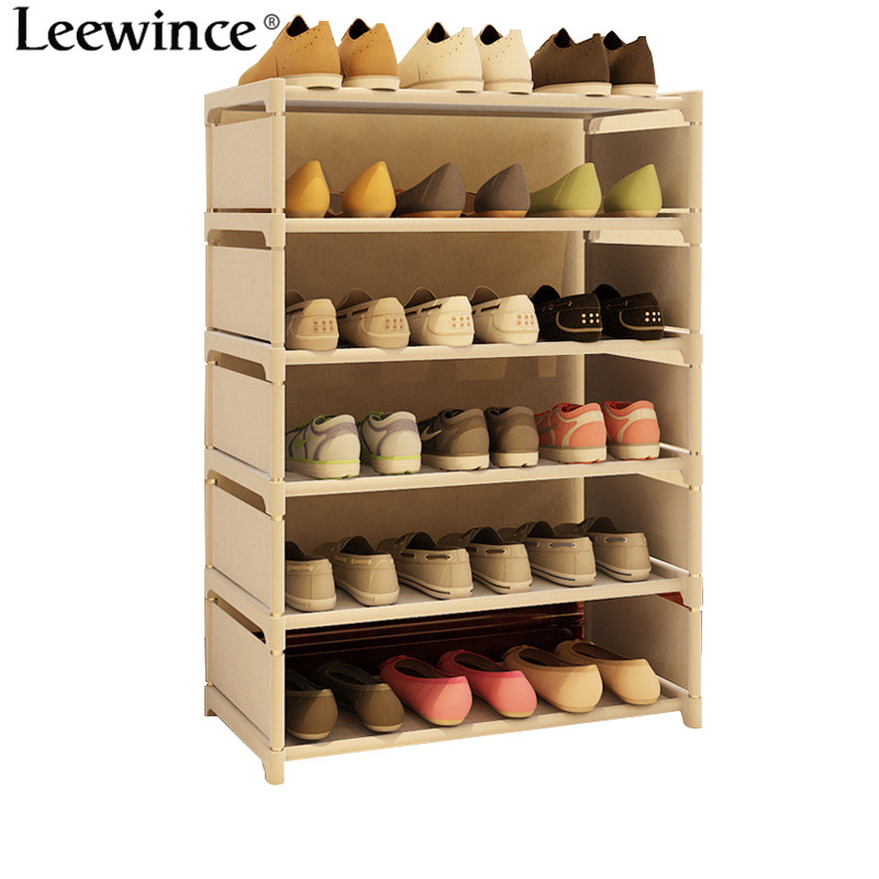 Leewince Simple Shoe Cabinets Ironwork Multi-layer Assembly of Shoe Rack with Modern Simple Dustproof Shoe Cabinet 85cm Hight