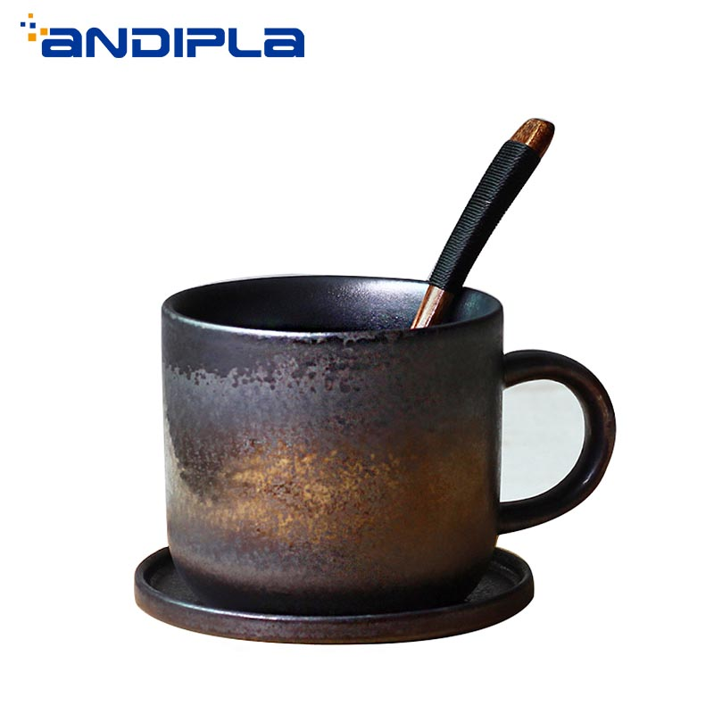 280ml Handmade Vintage Coarse Pottery Coffee Cup with Saucer Wooden Spoon Japanese Style Ceramic Mug Office Afternoon Tea Cup