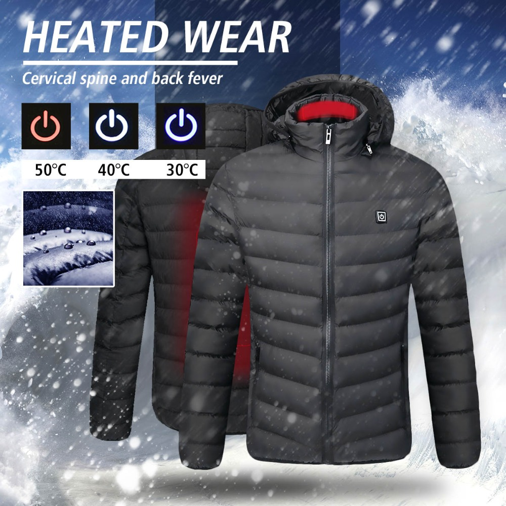 все цены на Mens Intelligent Heating USB Hooded Back Neck Heated Work Jacket Coats Adjustable Safety Clothing