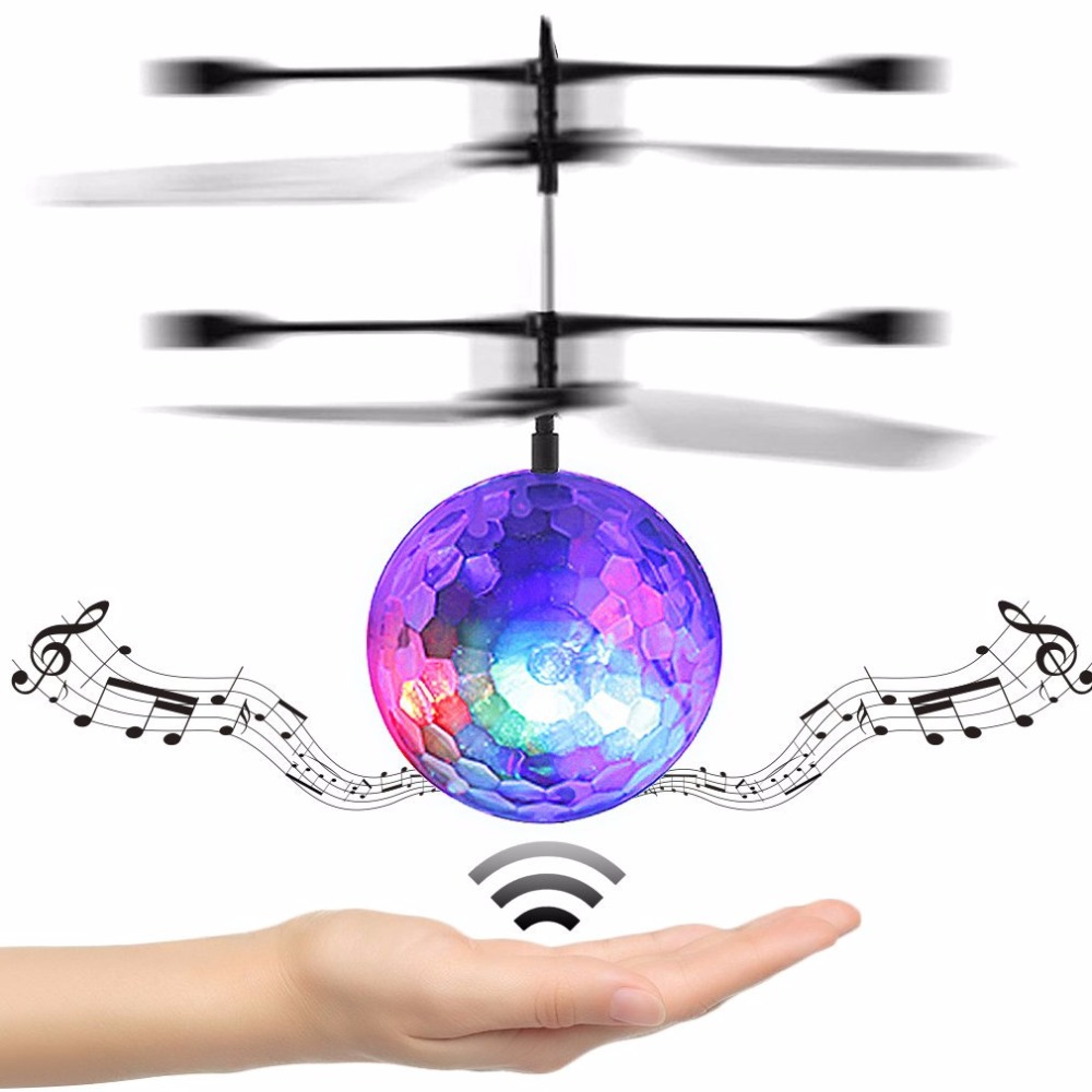 Kids Flying Clear Ball RC Infrared Induction Outdoor Helicopter Ball Built-in Music Shinning LED Lighting Play Ball Toy For Kids