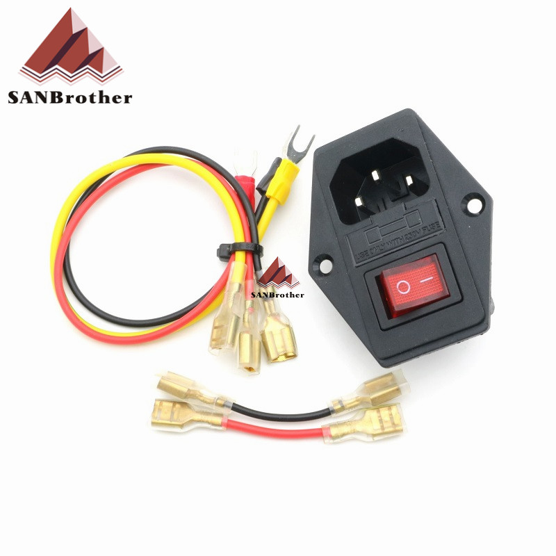 Hot! 3D Printer Parts Prusa i3 250V 3 In 1 Fuse Power Switch Outlet Adapter AC Power Outlet Wholesale.