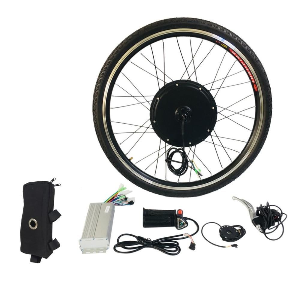 Hot 48V 1000W Electric Bike Conversion Kit for 26 Front Wheel Motor Bicycle Hub Aluminum Alloy Tool Kit Crank Speed Sensor