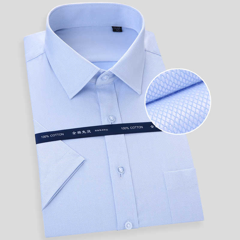 高品質男性シャツ2018新しいブランド夏コットンドレス半袖固体カジュアルカラー固体襟ドレスシャツ4xl m703