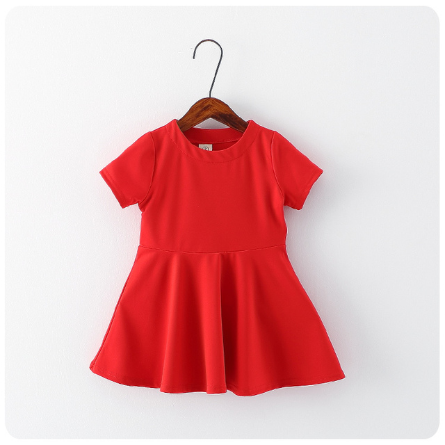 2016 Spring Summer New Korea Style Children's Garment Solid Color Concise Short Sleeve Skirt Girl Baby Show Full Skirt Skirt