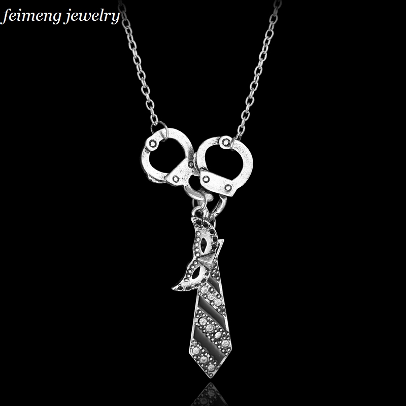 Dropshipping Fifty Shades of Grey Darker Freed Christian Charm Necklace Handcuffs Masquerade
