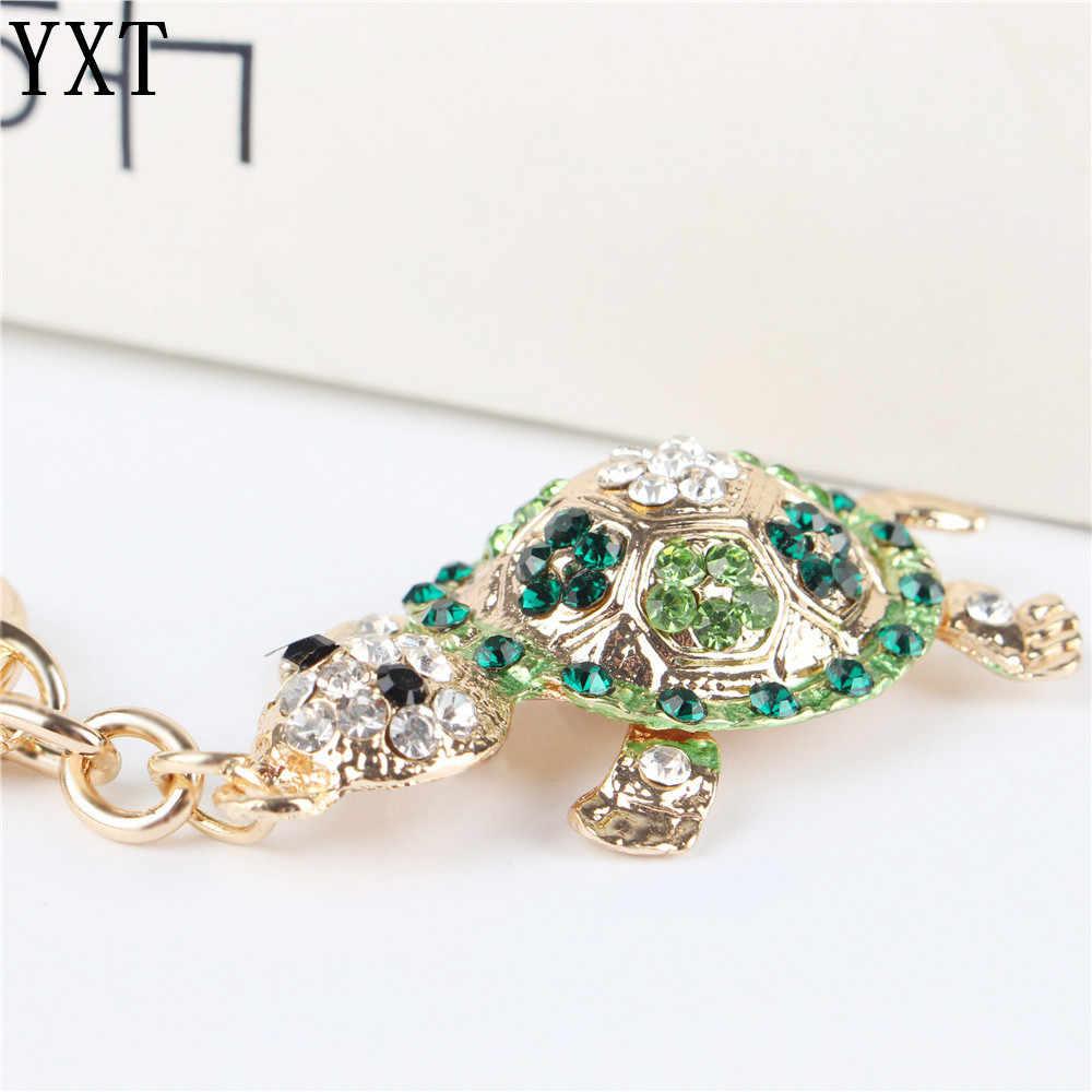 Tartaruga verde pingente de tartaruga charme strass cristal bolsa chaveiro chaveiro acessórios casamento amigo amante presente