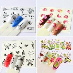 Image 5 - 58 stks/set Gemengde Kleurrijke Nail Sticker Fashion Fruit/Cake/Bloem Water Transfer Wraps Tips Nail Decor Manicure Tool CHSTZ455 512