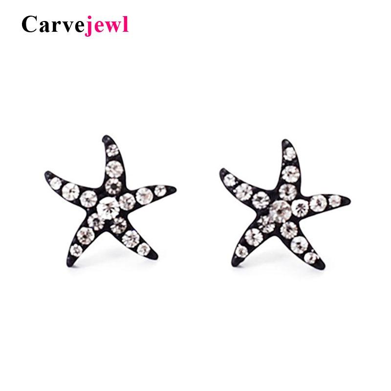 Carvejewl brincos pequenos do parafuso prisioneiro peixes da estrela de cristal strass acrílico pérola pós plástico anti alérgicos brincos para as mulheres de jóias