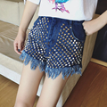 Women Rivets Tassels Short Shorts Female 2017 Summer High Waist Ripped Jeans Shorts with Pockets Blue / Black SML Good Quality