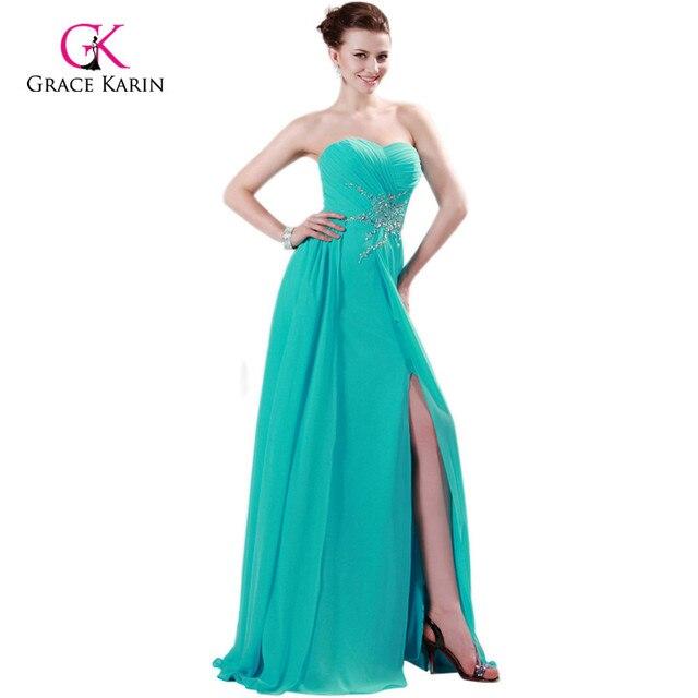 230aa07ed Gracia Karin Gasa de Hendidura Sexy Vestidos de Noche Del Partido Vestido  de fiesta 2017 sweetheart