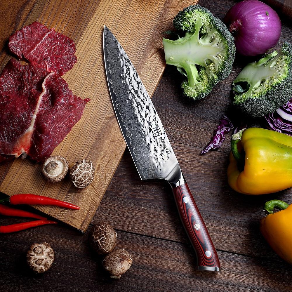 Sunnecko 8 Hammer Damascus Steel Chef Knife Japanese AUS10 Core Blade G10 Handle Kitchen Chef s