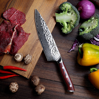 """Sunnecko 8"""" Hammer Damascus Steel Chef Knife Japanese AUS10 Core Blade G10 Handle Kitchen Chef's Cook Knives Meat Sharp Cut"""