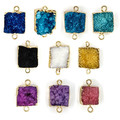 5pcs/lot Multicolor 1.5*1.5cm Big Square Druzy Pendant Necklace Natural Stone Necklace RT-046
