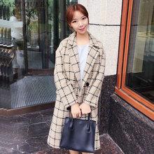 Весеннее женское клетчатое пальто, повседневное пальто с длинными рукавами и отложным воротником, верхняя одежда, кардиган свободного кроя, милые длинные Стильные пальто AA3128 F