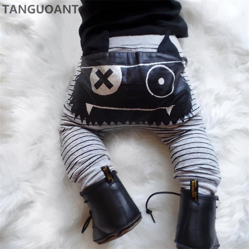 TANGUOANT Hot Sale Baby Boys Girls Cute Striped Monster Bottom Pants Leggings Harem Pants Kids Trouser(China)