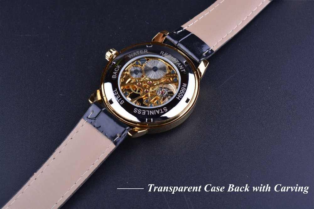Forsining 3d Logo tasarım içi boş oyma siyah altın kasa deri İskelet mekanik saatler erkekler lüks marka Heren Horloge