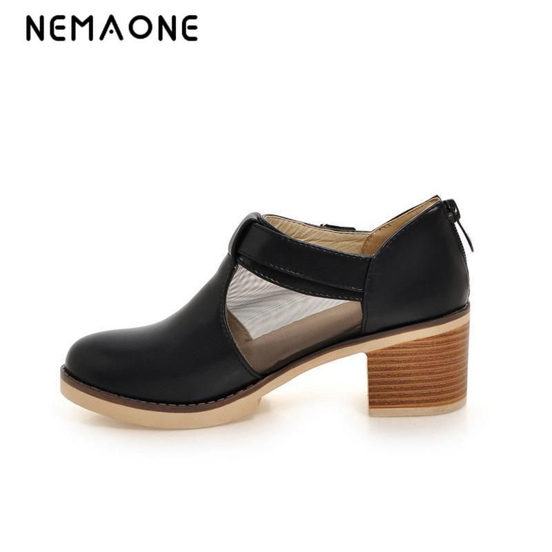 NEMAONE New spring autumn fashion women shoes high heel shoes woman ankle strap casual shoes black white large size 34-43 spring and autumn new women fashion shoes casual comfortable flat shoes women large size pure color shoes