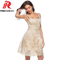 2018 New Summer Casual Gold Thread Embroidery Lace Dress Women Square Neck Sleeveless Backless Sundress Sexy Mini Party Dress
