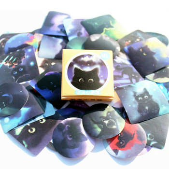 40pcs Black Cat of the Night Memo Stickers Pack Posted It Kawaii Planner Scrapbooking Stationery Escolar School Supplies Stationery Stickers