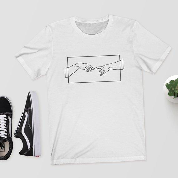 6c3ca4db045b 2018 Unisex Women Michelangelo Creation Hands Printed Tshirts Short Sleeved  Cotton Tops Harajuku Aesthetic T Shirt
