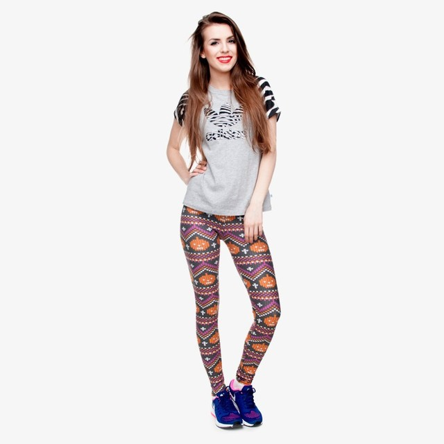 Leggings with Knitted Design