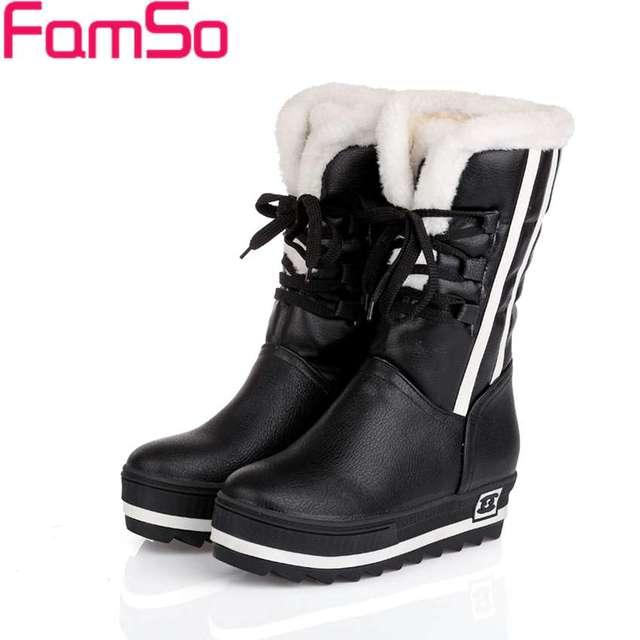 Famso Size34-43 2017 классика Для женщин Сапоги и ботинки для девочек черный весенние, осенние ботинки для верховой езды на платформе Обувь зимние водонепроницаемые зимние ботинки SBT3451